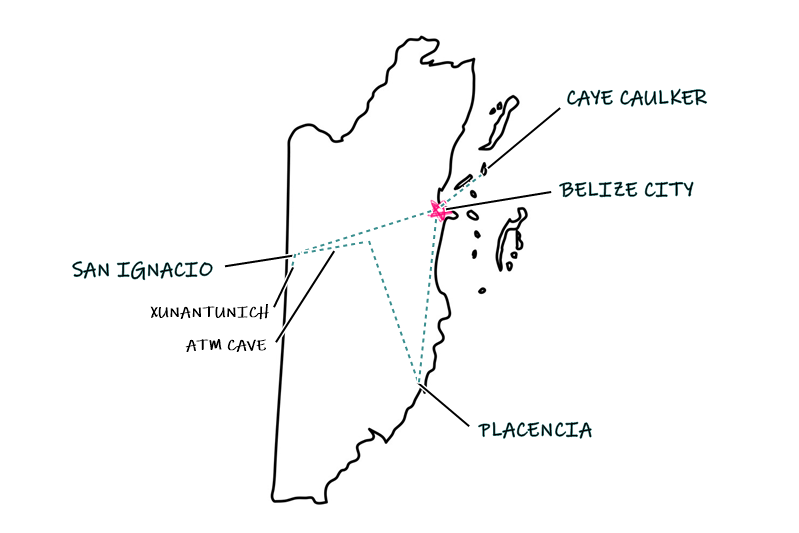 Belize Map Itinerary